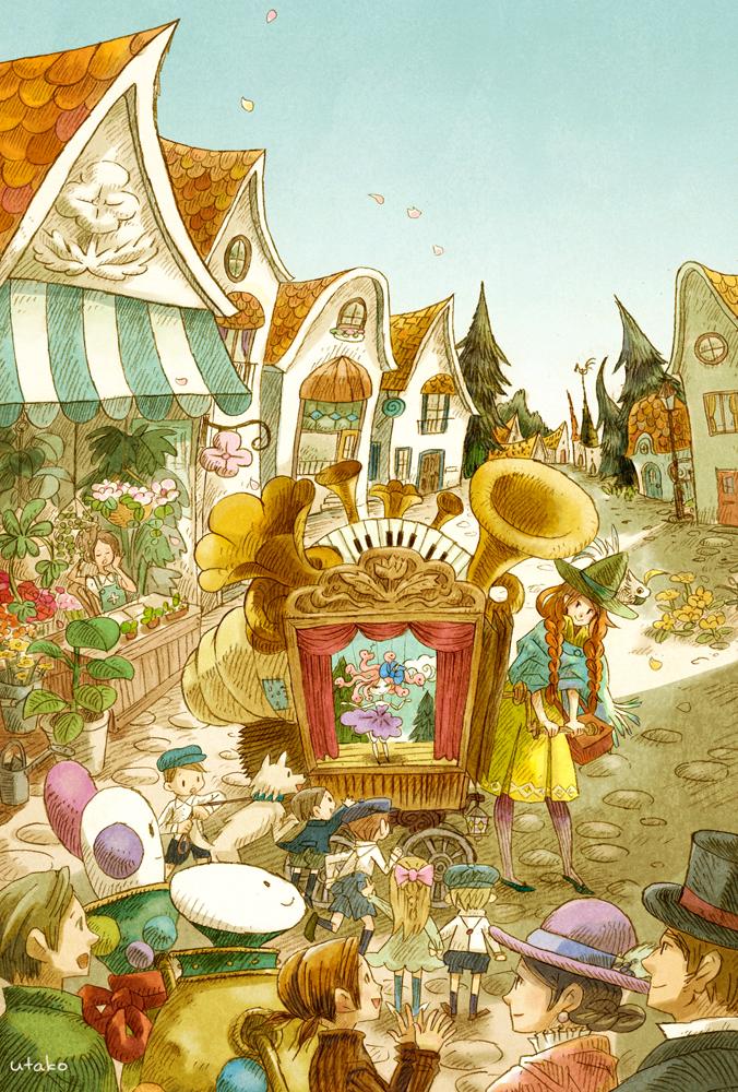 町にあらわれた旅芸人の見せ物は、奇妙な機械じかけの人形劇。 メデューサちゃんの歌と踊りに子どもたちは不思議そう。